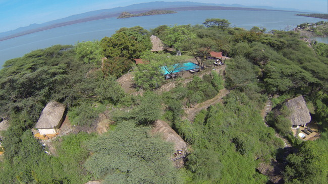 Aerial view of Island Camp